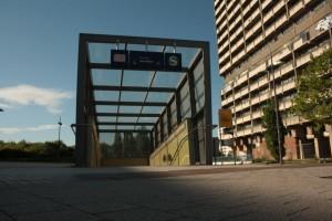 Eingang zum S-Bahnhof in Halle-Neustadt